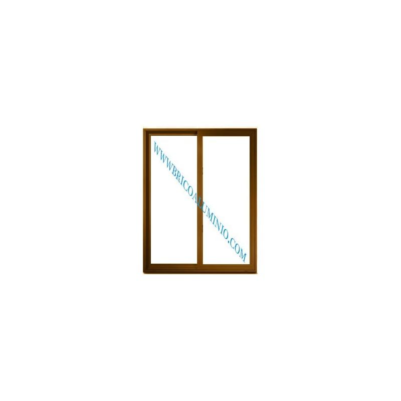 Ventana corredera terminada en color madera sin persiana
